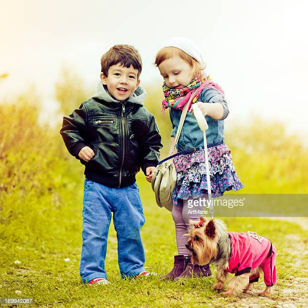 Children with dog