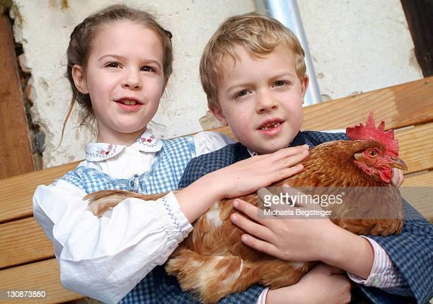 Children with hen