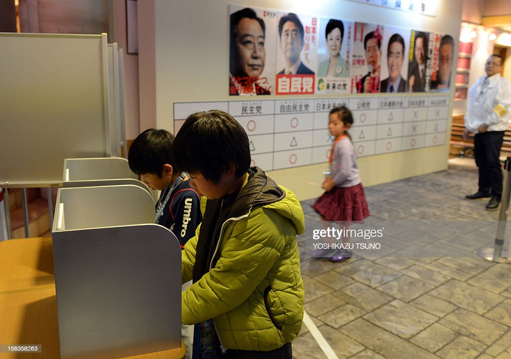 Children write party names to cast their votes in a straw poll for the upcoming general election at the Kidzania career theme park in Tokyo on December 14, 2012. A group of elementary schoolchildren visiting the theme park took part in the exercise in the hope of teaching young people about the country's election process. Japan's young people in their 20s, alienated and outnumbered by a greying population, will barely bother to vote in weekend polls after a campaign that excluded social media and made little effort to engage them. AFP PHOTO / Yoshikazu TSUNO