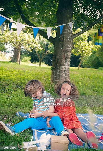 Children yelling at birthday picnic