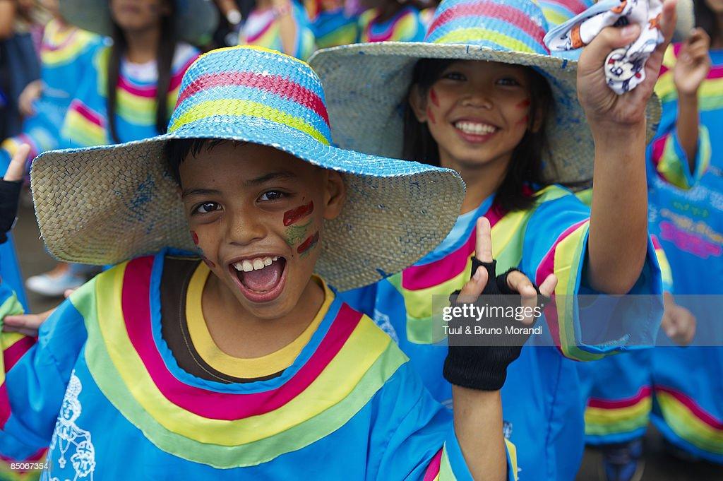 Childrens at Ati Atihan festival : Stock Photo