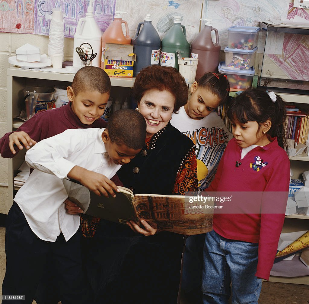 Children's author Ann McGovern reads her book 'The Lady in the Box' to a group of young listeners, New York City, 2009.
