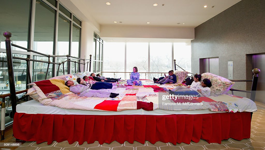 Childrens Author Laura Dockrill reads on the Giant Storytelling Bed as Children explore the 'World of Roald Dahl' as part of Southbank Centre's annual Imagine Children's Festival at Southbank Centre on February 9, 2016 in London, England.