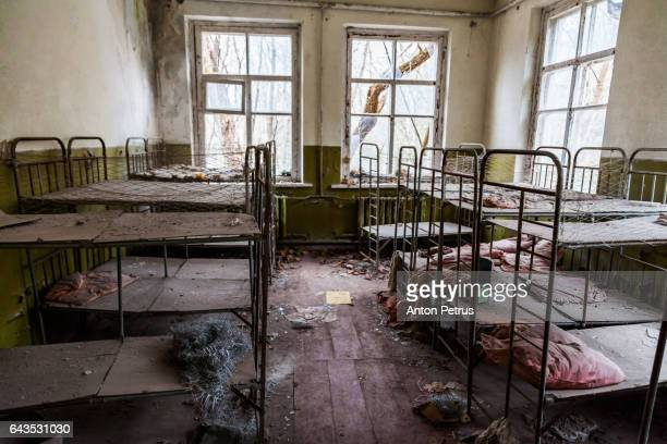 Children's bed in an abandoned kindergarten. Prypiat, Ukraine