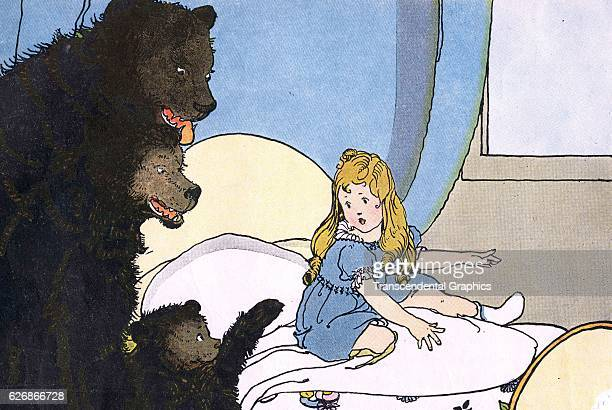 Children's book illustration of a Goldilocks in the three bears' house New York New York 1927