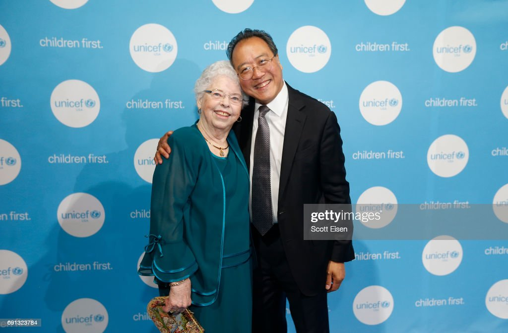 Children's Champion Award UN Messenger of Peace Recipient Cellist Yo-Yo Ma poses for a photo with presenter Joanne Rogers during UNICEF Children's Champion Award Dinner honoring Yo-Yo Ma and Alli and Bill Achtmeyer at The Castle at Park Plaza on June 1, 2017 in Boston, Massachusetts.
