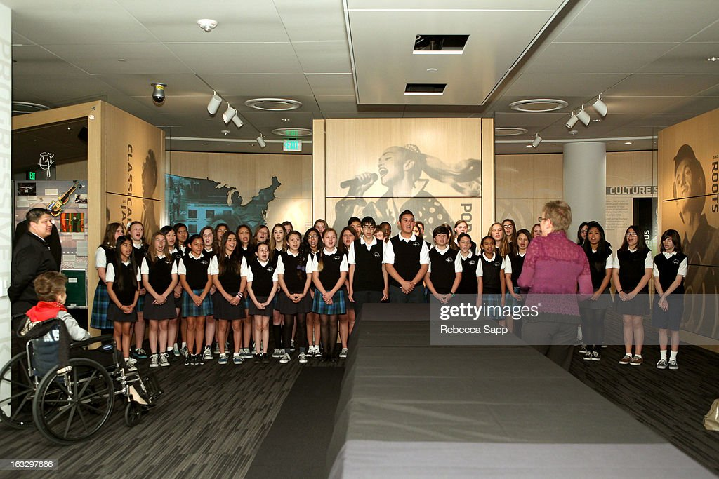 Children's choir performs at the Mike Curb Gallery Opening at The GRAMMY Museum on March 7, 2013 in Los Angeles, California.