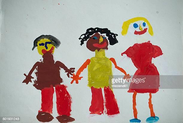 Children's drawing, three people