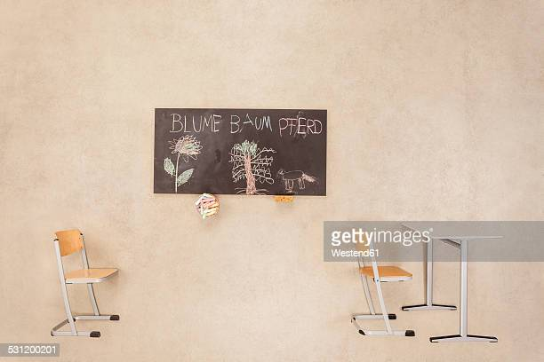 Childrens drawings on blackboard