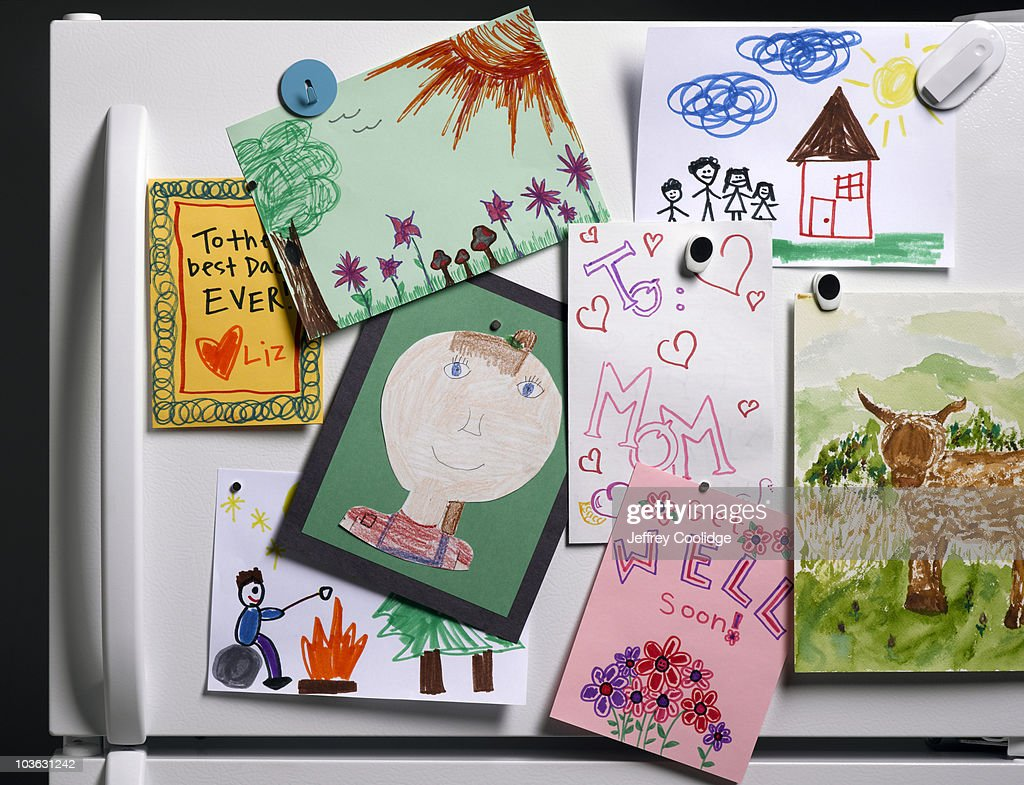 Children's Drawings on Refrigerator : Stock Photo