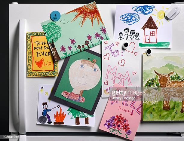 Children's Drawings on Refrigerator