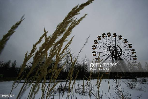 A childrens fairground is seen in the town of Pripyat on January 29 2006 near Chernobyl Ukraine The town of Pripyat deserted since the 1986...