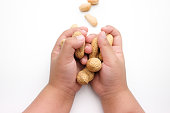 Children's Hand Holding Peanuts, isolated on a white background.