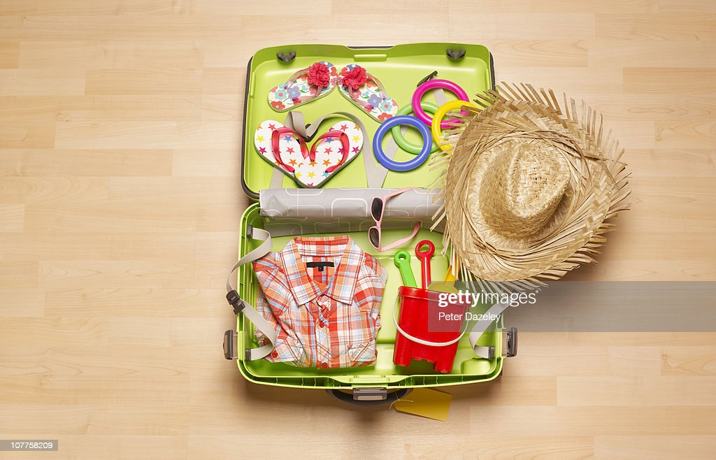 Children's holiday suitcase from above