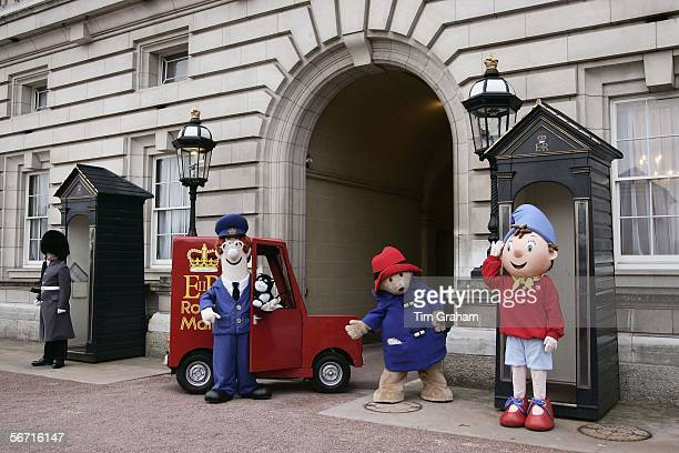 Children's literature characters Postman Pat Paddington Bear and Noddy promote the summer 'Children's Party at the Palace' garden party hosted by the...
