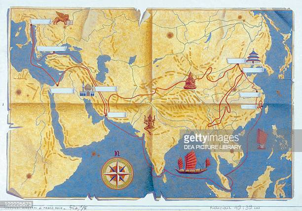 Children's literature Marco Polo The Travels of Marco Polo Map with the route of the journey Drawing