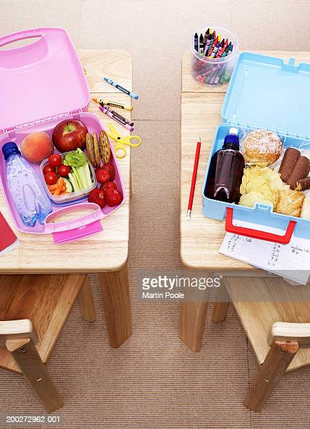 Children's lunchboxes open on desks, elevated view