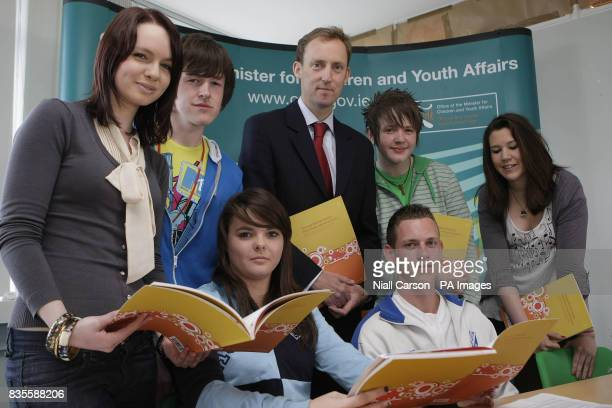 Children's Minister Barry Andrews joins young people at the launch of a report entitled quotTeenage Mental Health What Helps And What Hurtsquot at...
