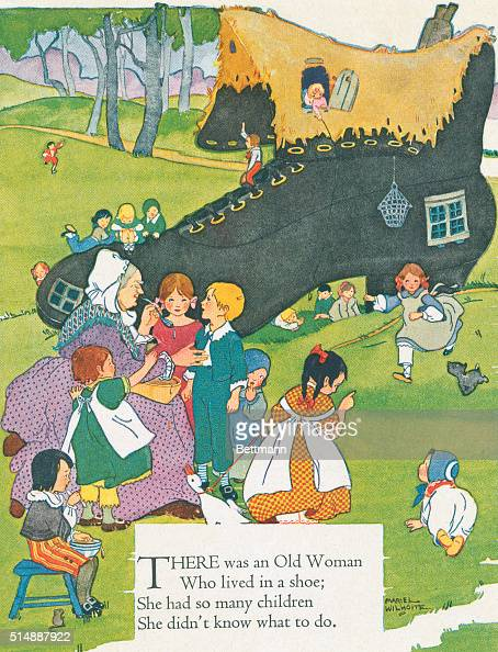 Childrens nursery rhyme 'There was an old woman who lived in a shoe She had so many children she didn't know what to do' Color screened illustration...