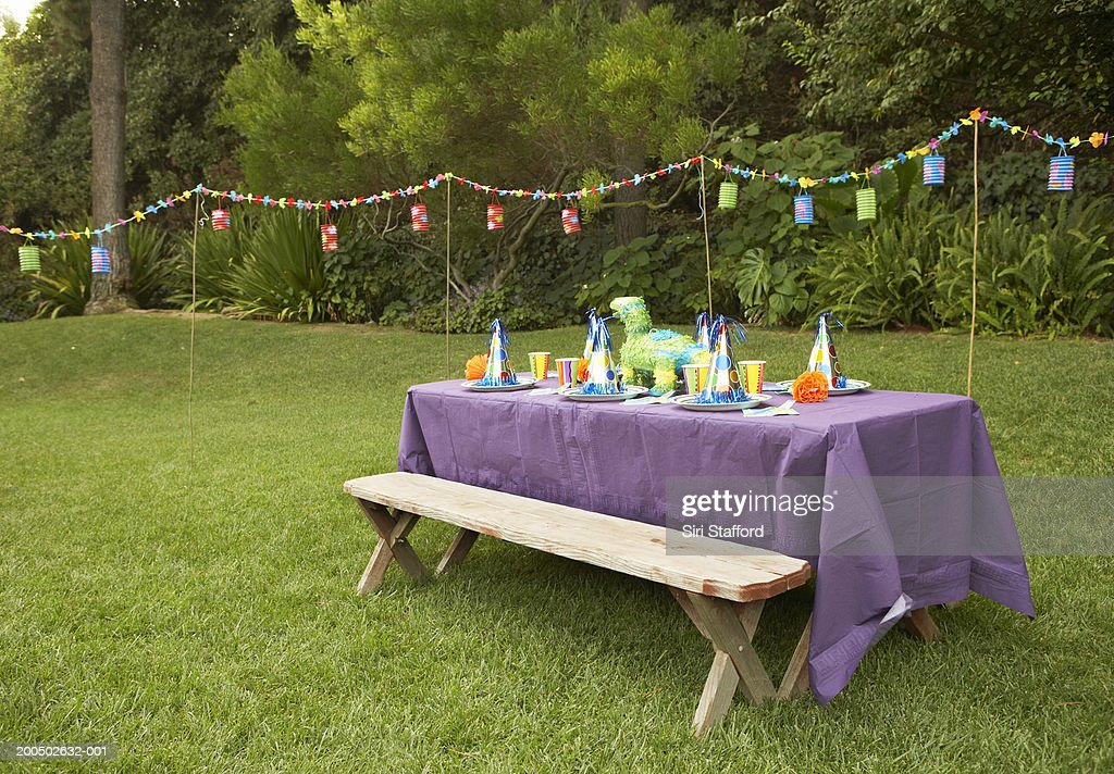 Children's party table set-up in backyard : Stock-Foto