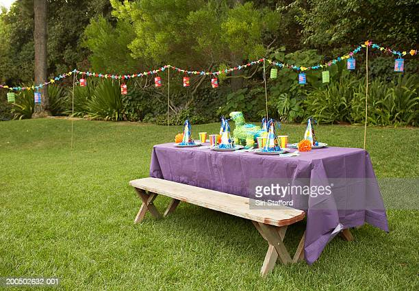 Children's party table set-up in backyard