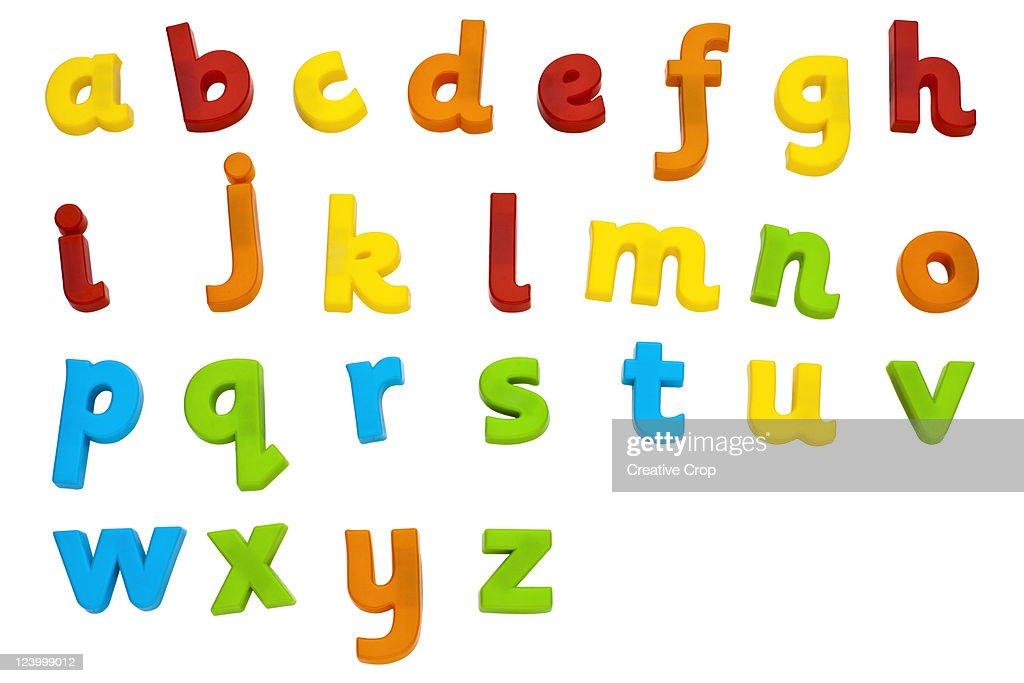 Children's plastic magnetic alphabet letters : Stock Photo