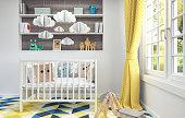 Children's room with cradle for baby 3d render 3d illustration