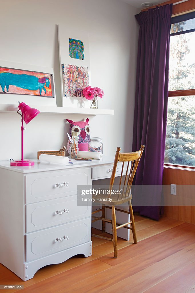 Children's room with desk : Stock Photo