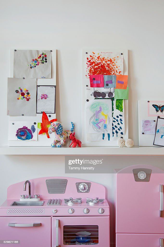 Children's room with toy kitchen : Stock Photo