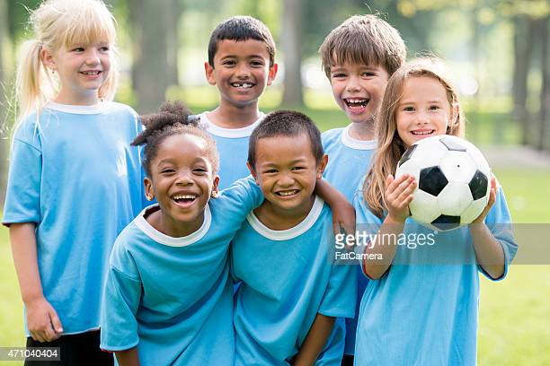 Childrens Soccer Team Posing for Picture