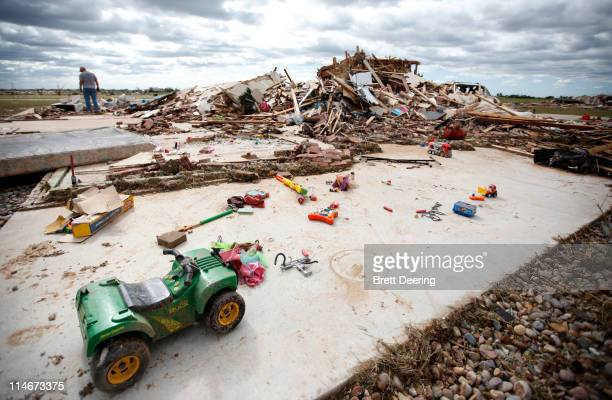 Children's toys are left over from the tornado that struckat the home of Jake and Amy Burnett May 25 2011 in Piedmont Oklahoma The state medical...