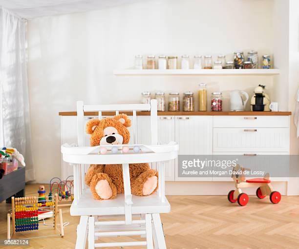 childrens toys in kitchen