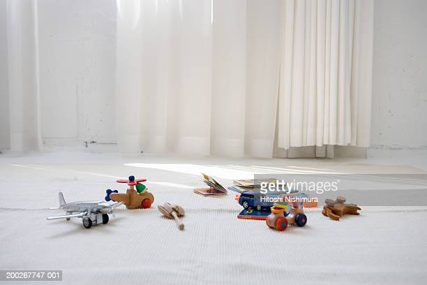 Children's toys on floor in living room