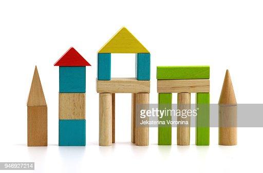 children's wooden blocks on white background : Stock Photo