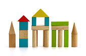 children's wooden blocks on white background isolated