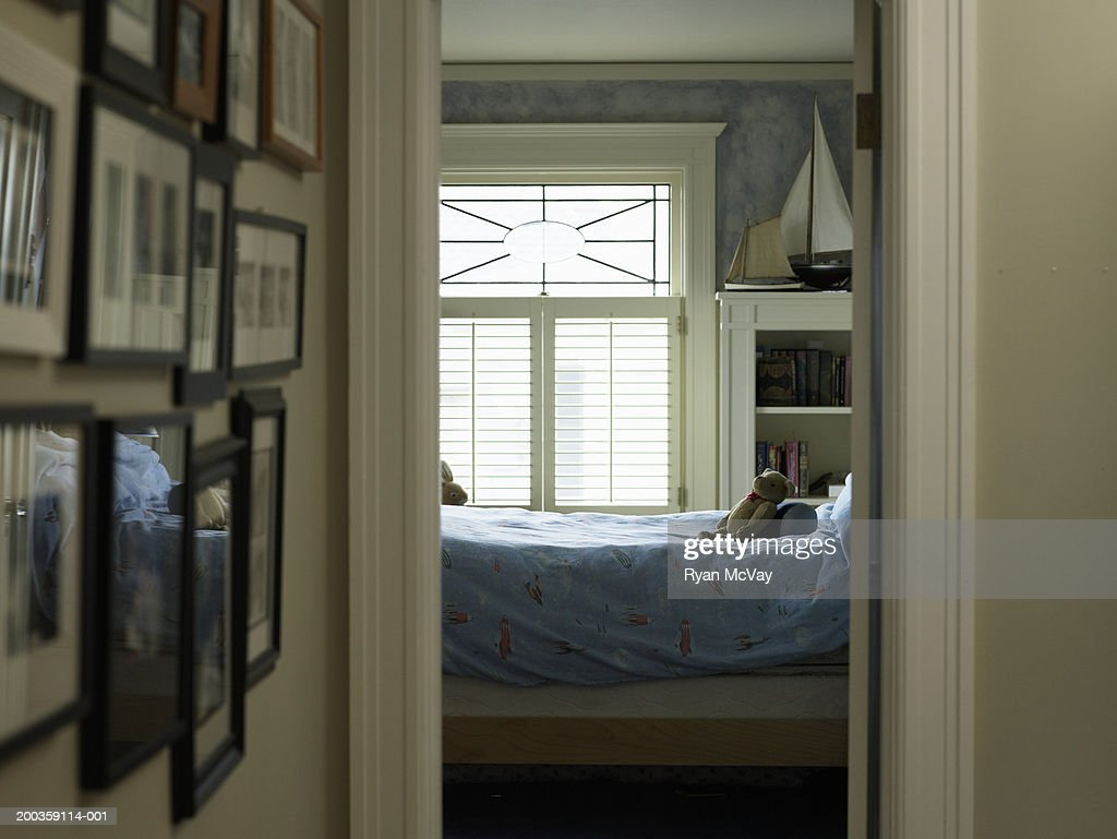 Child's bedroom, view from hallway : Stock Photo