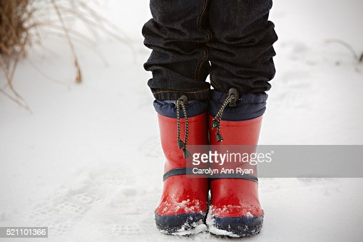 Child's Boots in the snow