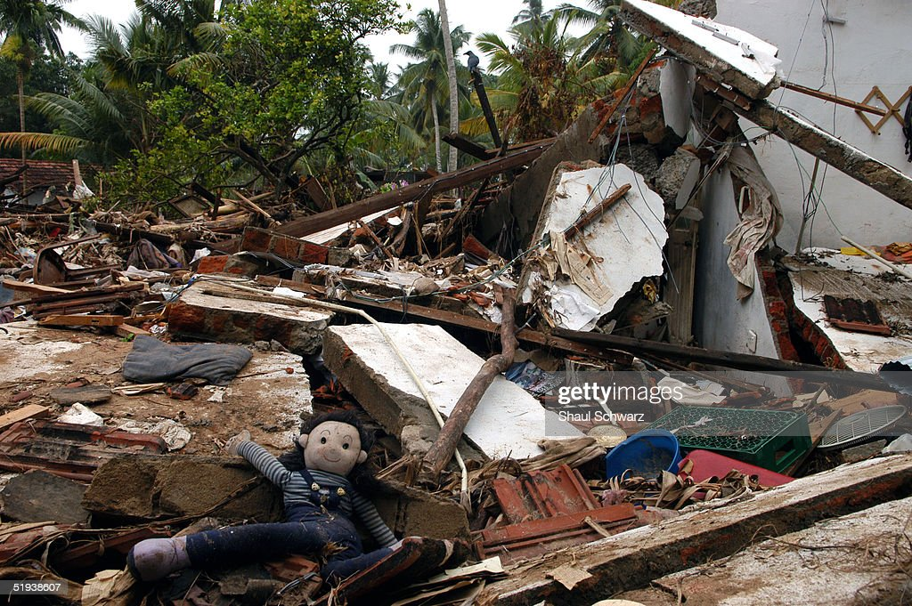 A childs doll is on the ground at the seen of destruction at the coast of the southern town of Matara January 8 2005 in Sri Lanka At least 30000...