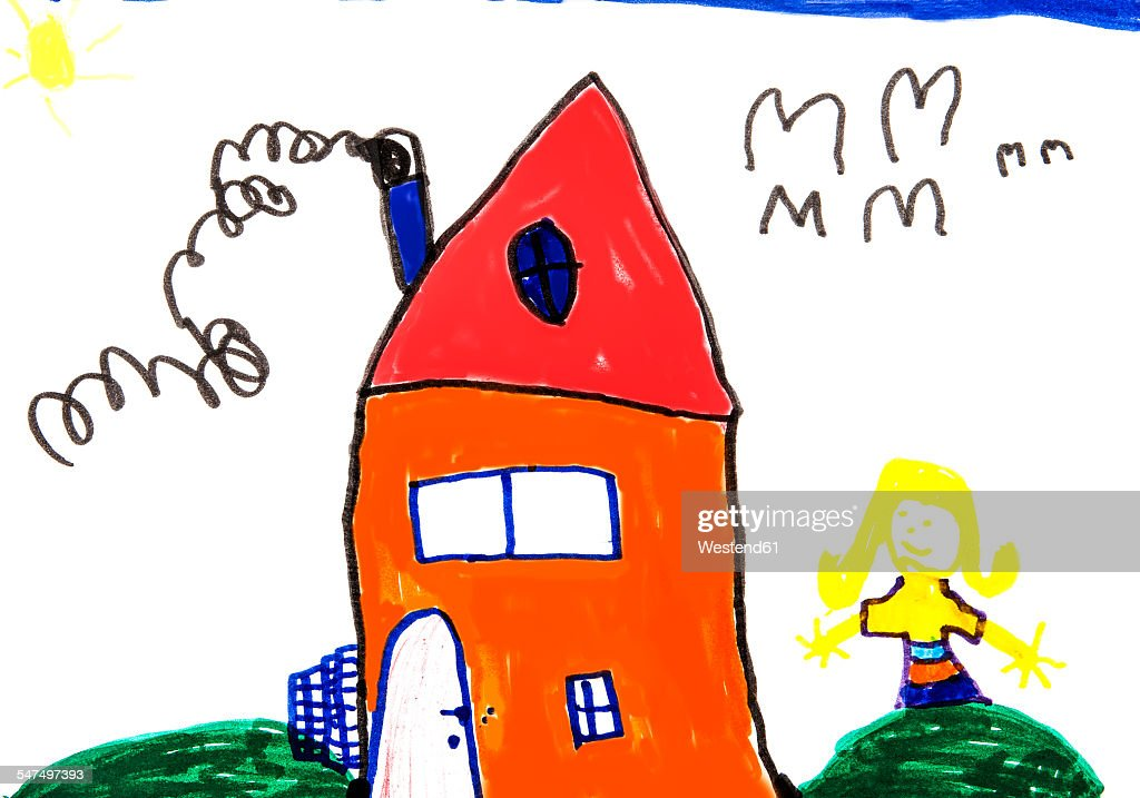 Childs drawing, Colorful house and girl