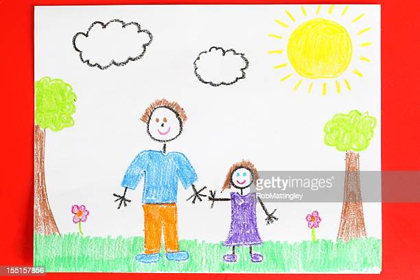 Childs drawing of a father and daughter holding hands