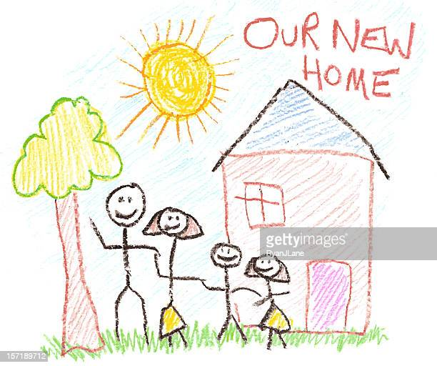 Child's Drawing of Family and New Home in Crayon