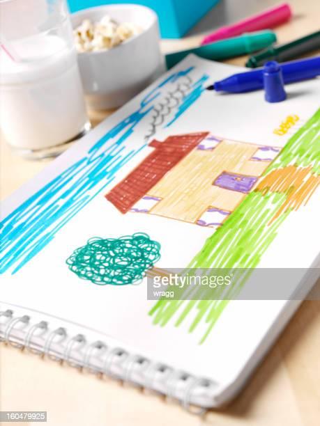 Kinderzeichnung sich wie zu Hause fühlen