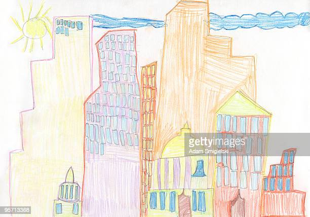 Child's drawing skyscraper city