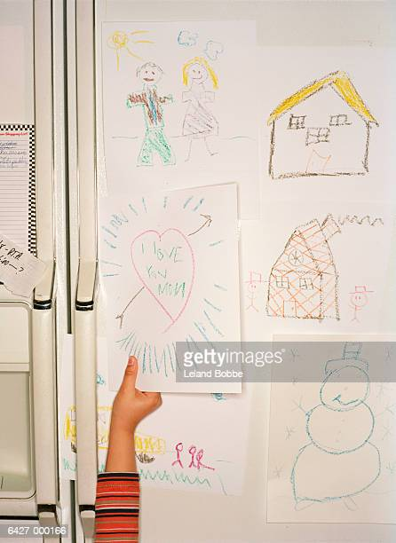 Childs Drawings on Fridge Door