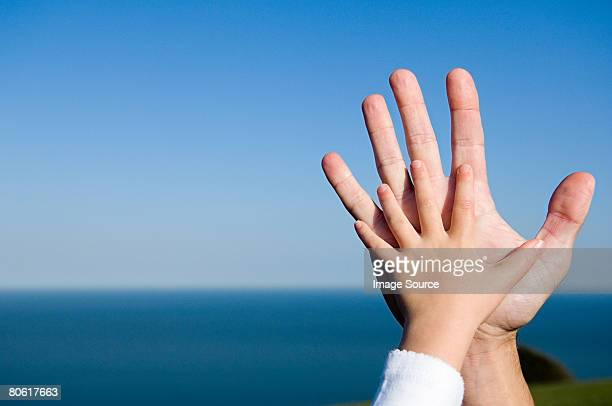 Childs hand on an adults hand
