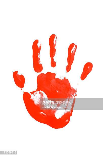 Child's hand print in red paint
