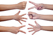 Child's hands making sign as rock paper and scissors in isolated white background