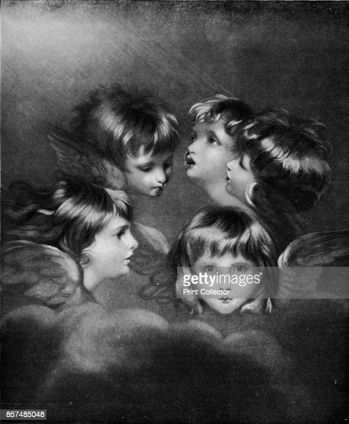 A Child's Portrait in Different Views 'Angel's Heads'' circa 1786 Painting helt at the Tate London From Bibby's Annual 1911 [J Bibby Sons Liverpool...