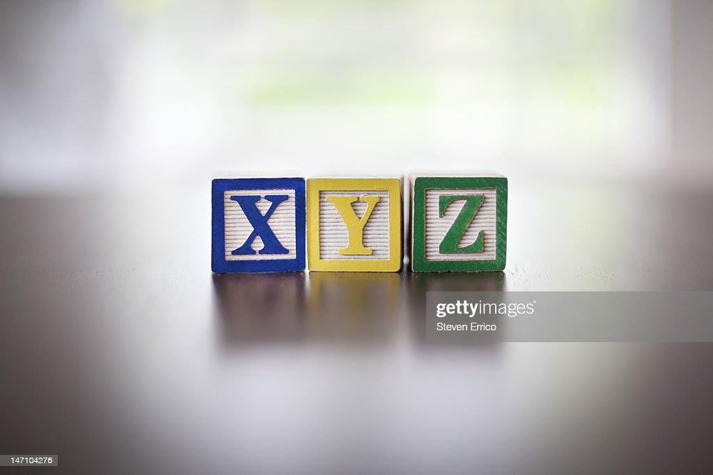 Child's XYZ alphabet blocks
