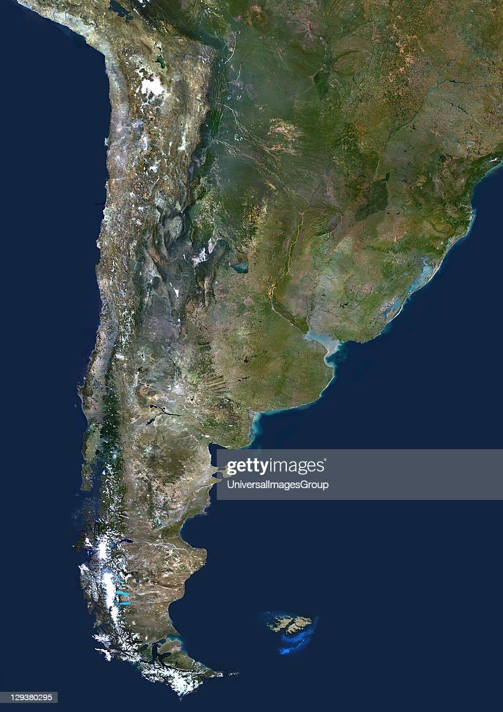 Chile Argentina true colour satellite image This image was compiled from data acquired by LANDSAT 5 7 satellites Chile And Argentina True Colour...
